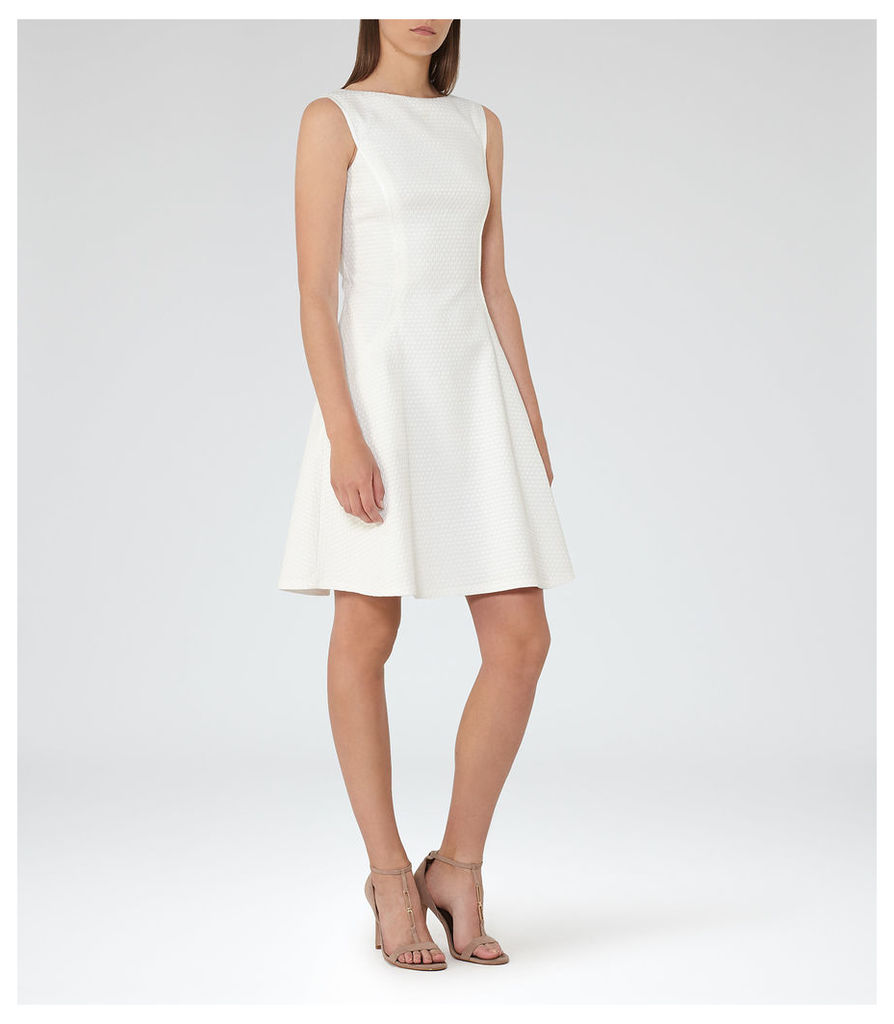 REISS Cara - Womens Textured Fit And Flare Dress in White