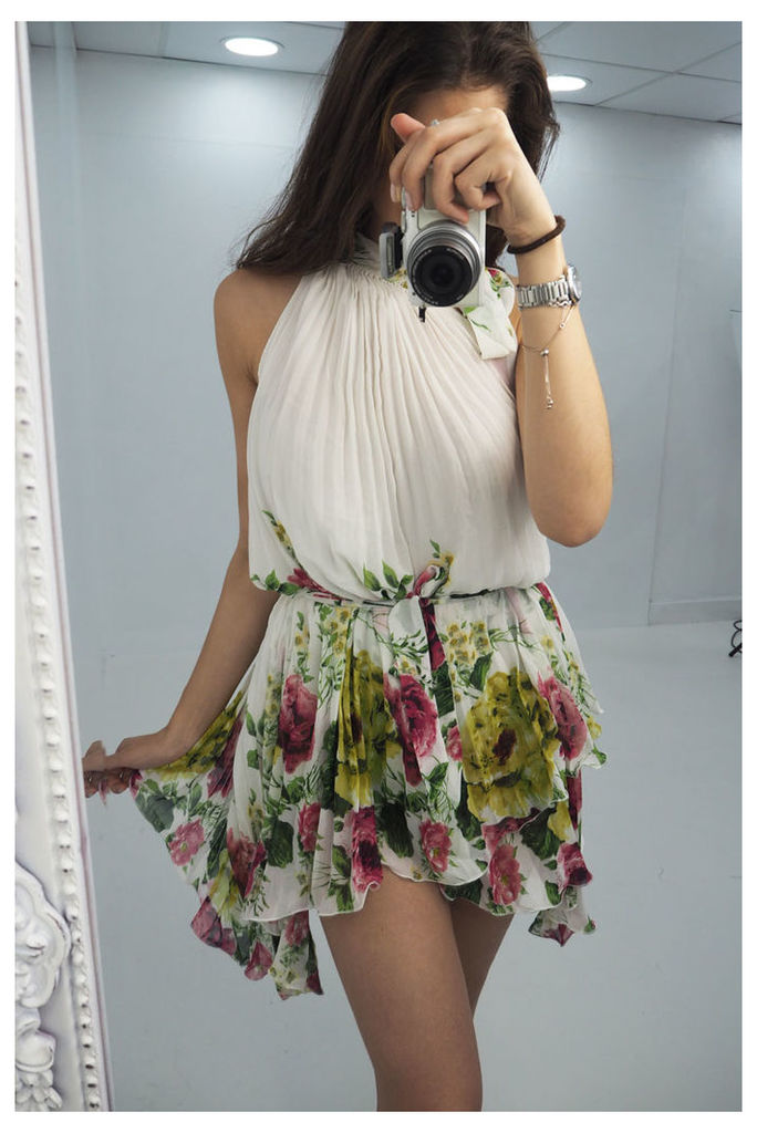Bethani floral printed pleated high neck dress