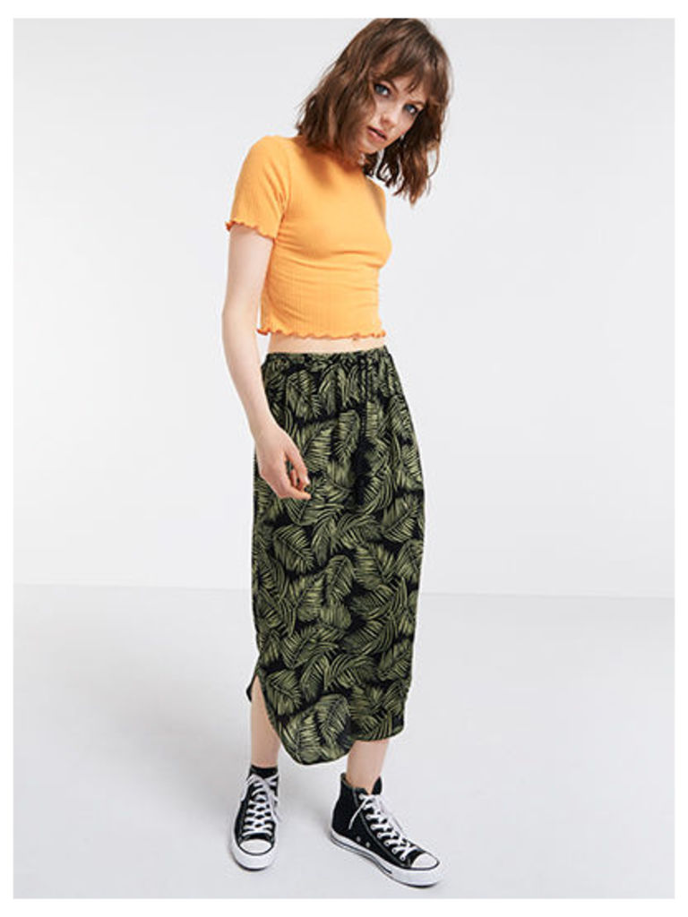 Green Palm Print Curved Hem Midi Skirt