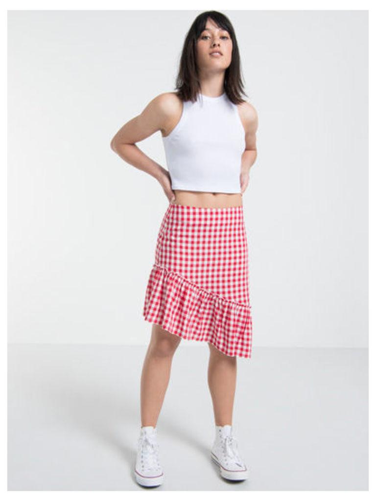 Red & White Gingham Asymmetric Ruffle Skirt