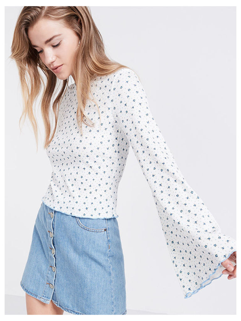 White Ditsy Print Flute Sleeve Top