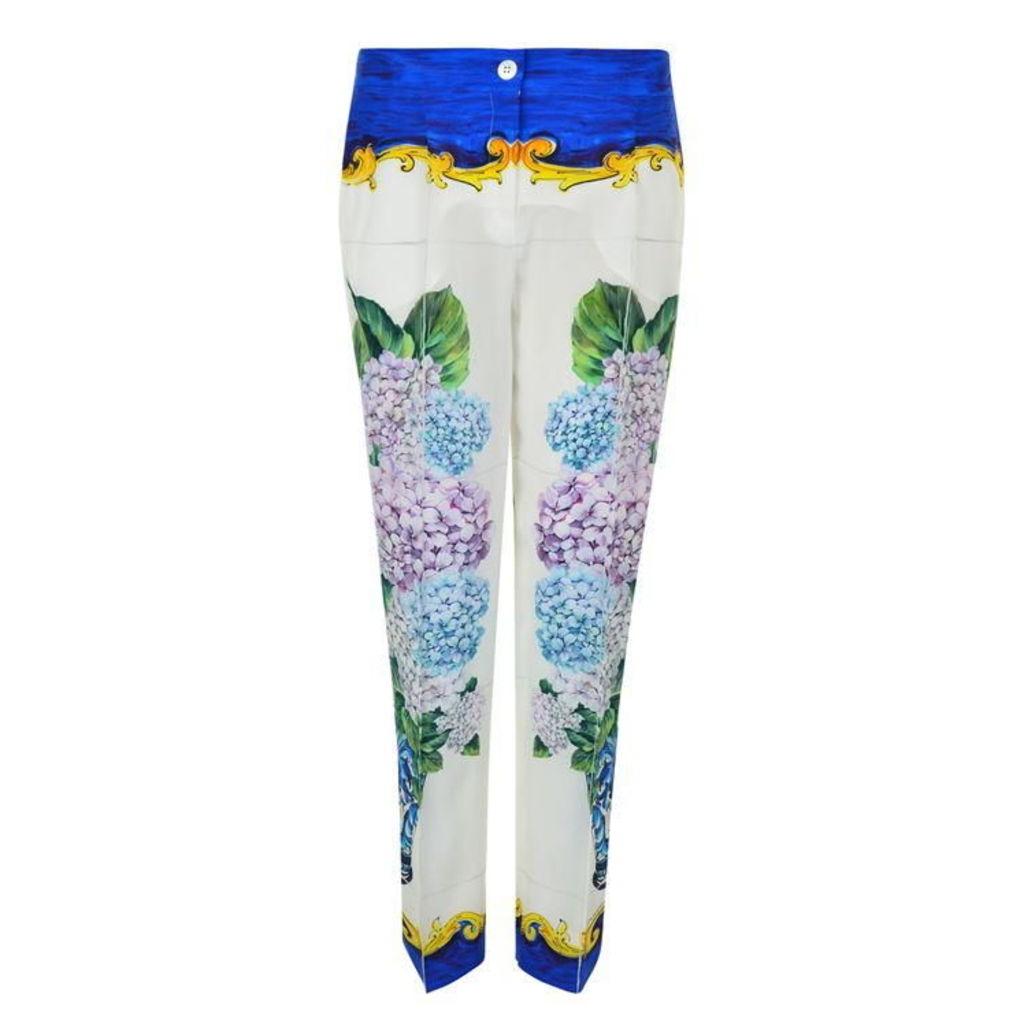 DOLCE AND GABBANA Majolica Silk Trousers