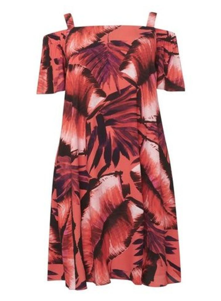 Live Unlimited Tropical Print Bardot Swing Dress, Pink