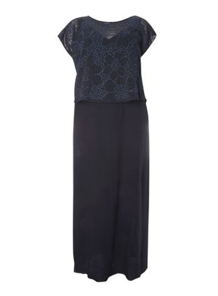 Live Unlimited Navy Blue Embroidered Maxi Dress, Navy