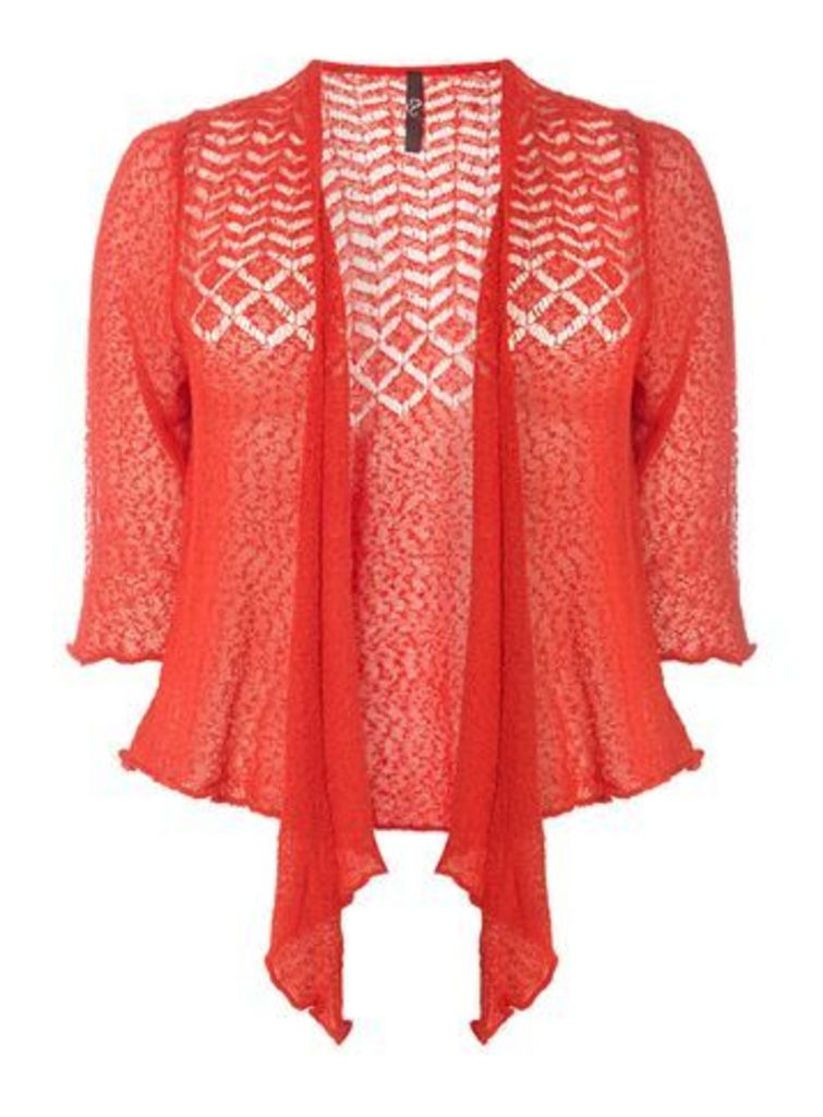 Red Fine Knitted Shrug, Red