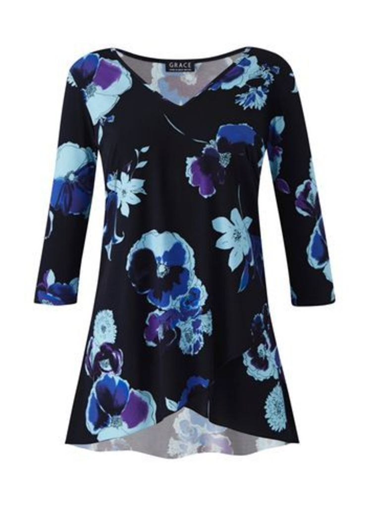 Grace Black Floral Tunic, Black