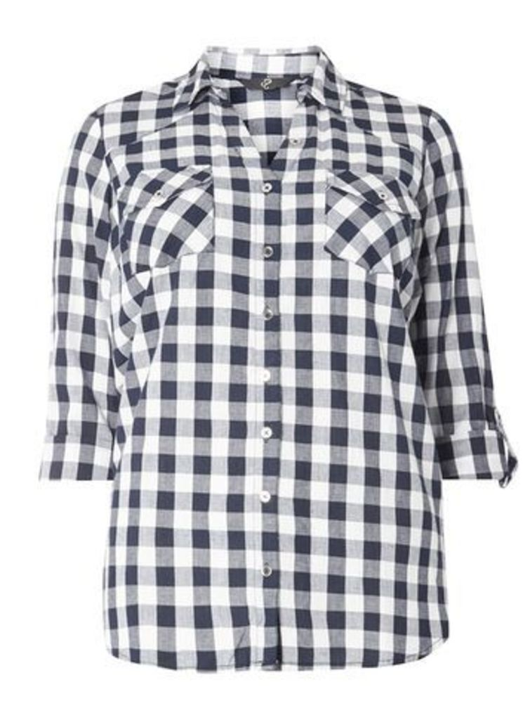Navy Blue And Ivory Check Shirt, Navy