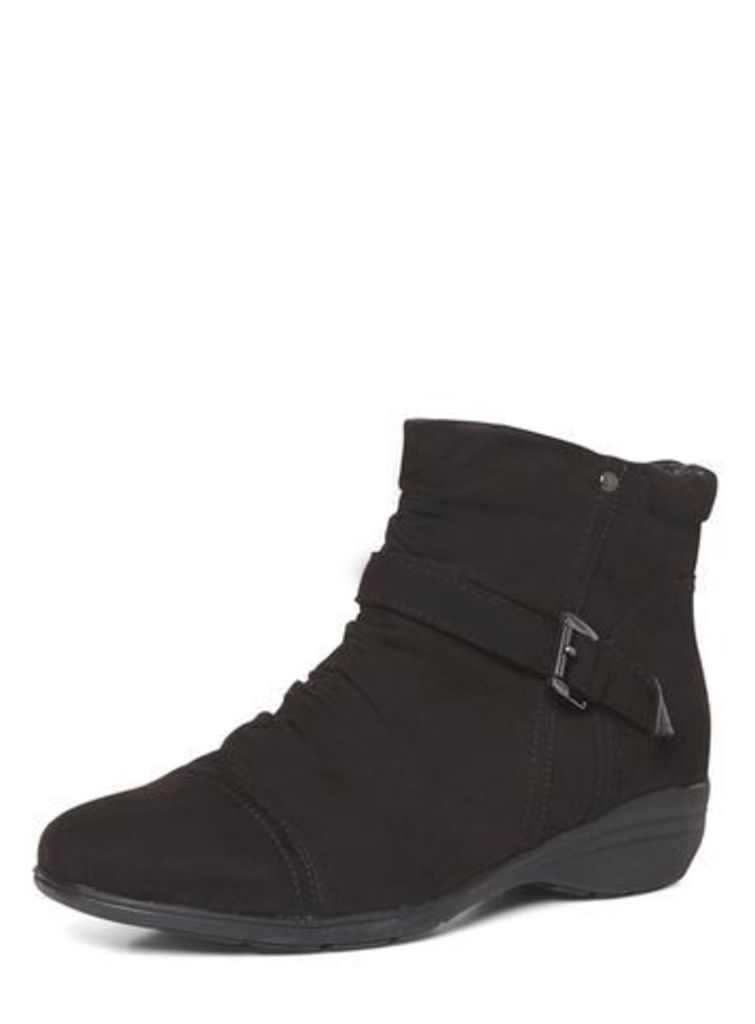 Black Ruched Low Wedge Boots, Black