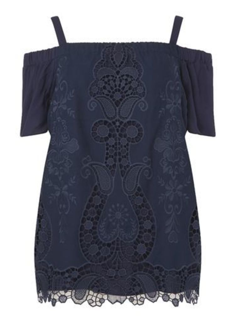 Live Unlimited Embroidered Bardot Top, Navy