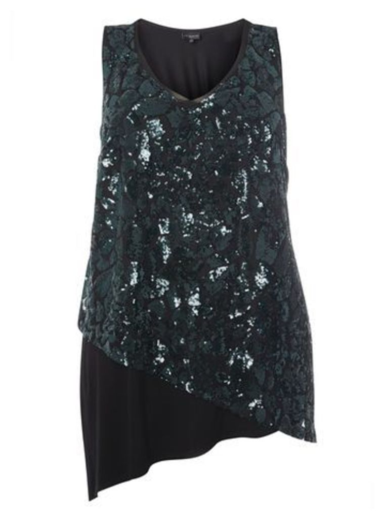 Live Unlimited Green Sequin Vest Top, Green