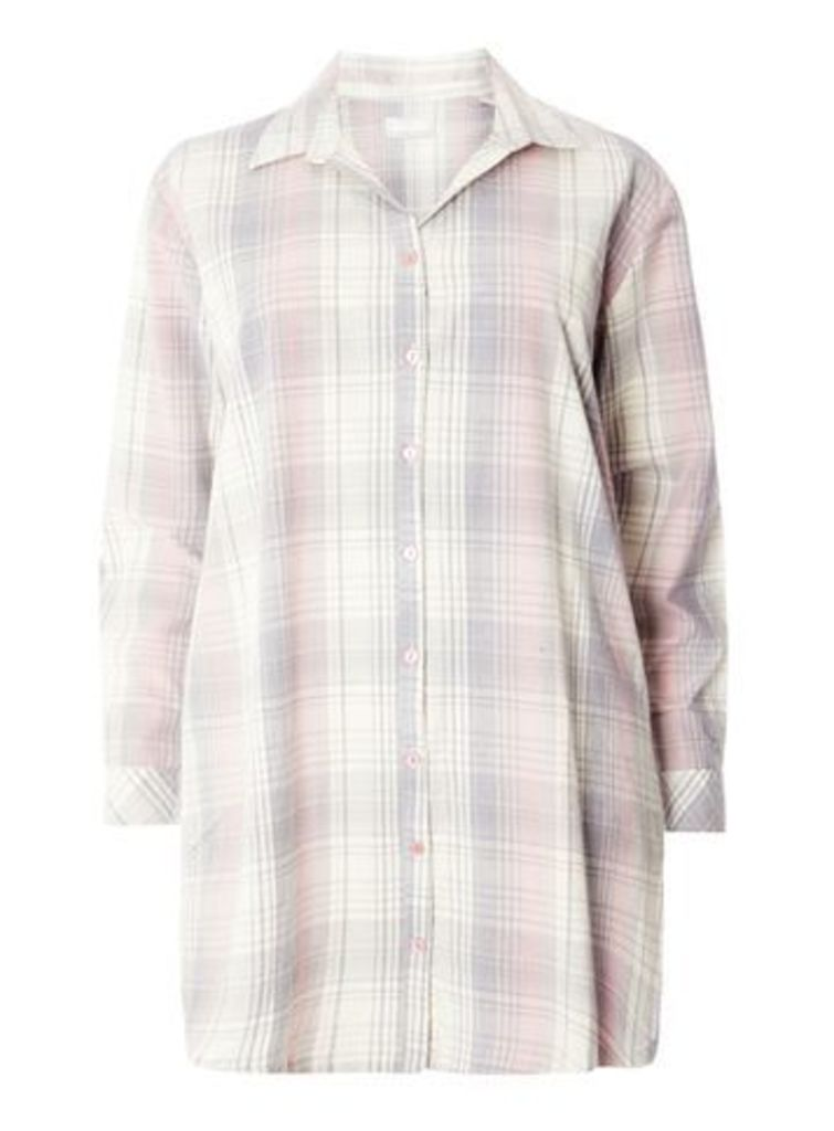 Pink Woven Checked Nightshirt, Pink