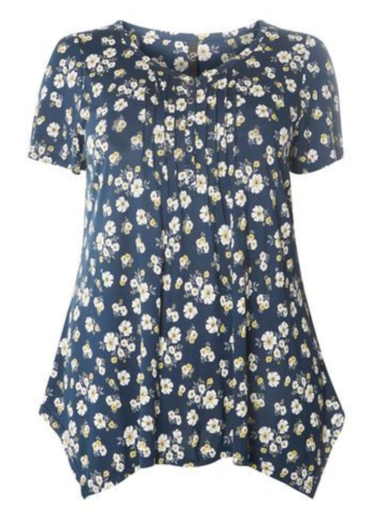 Navy Blue Floral Top, Navy