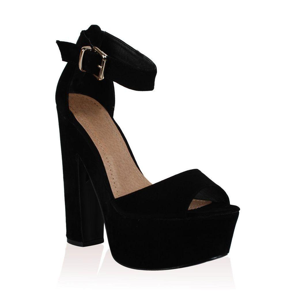 Brandi  Faux Suede Platform High Heel Sandals, Black
