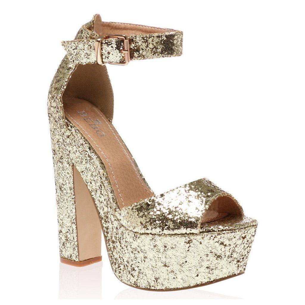 Brandi  Glitter Platform High Heel Sandals, Gold