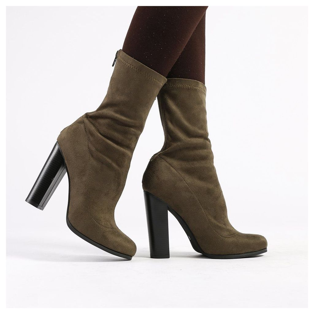 Florence Ankle Boots in Khaki Faux Suede, Green
