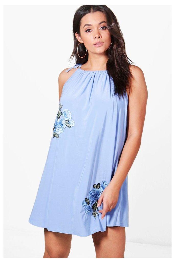Zoe Flower Applique Halterneck Sundress - bluebell