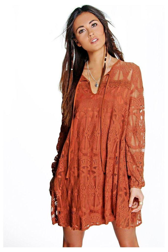 Tie Front Lace Swing Dress - rust
