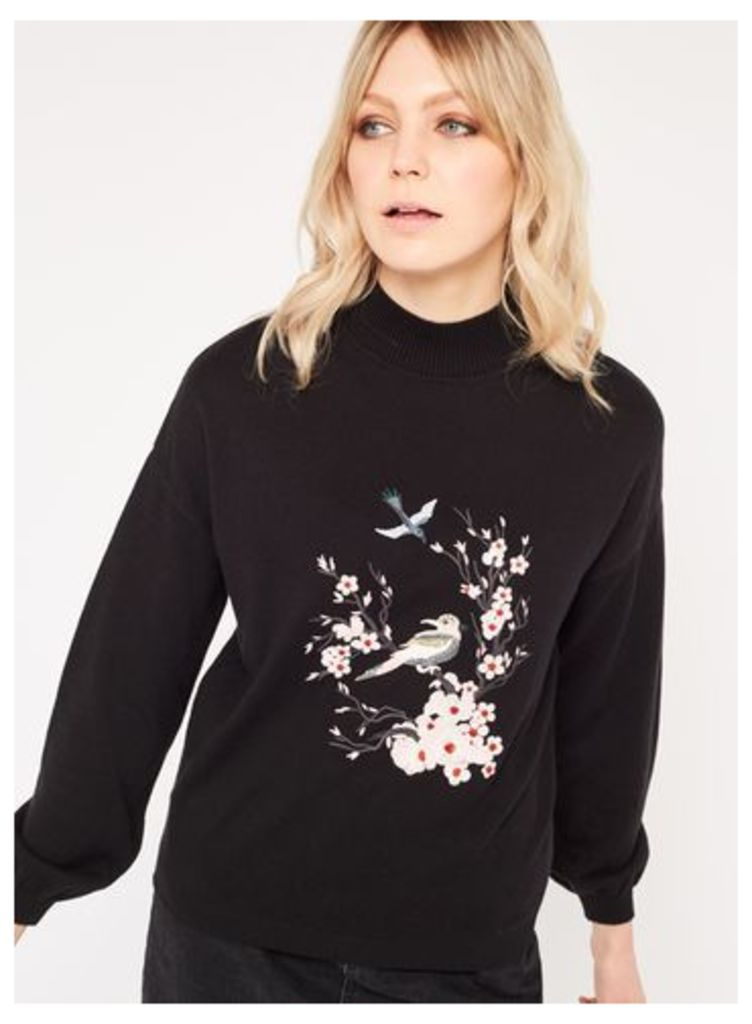 Womens Bird Embroidered Knitted Jumper, Black