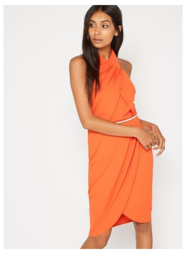 Womens Orange Twist Front Wrap Dress, Orange