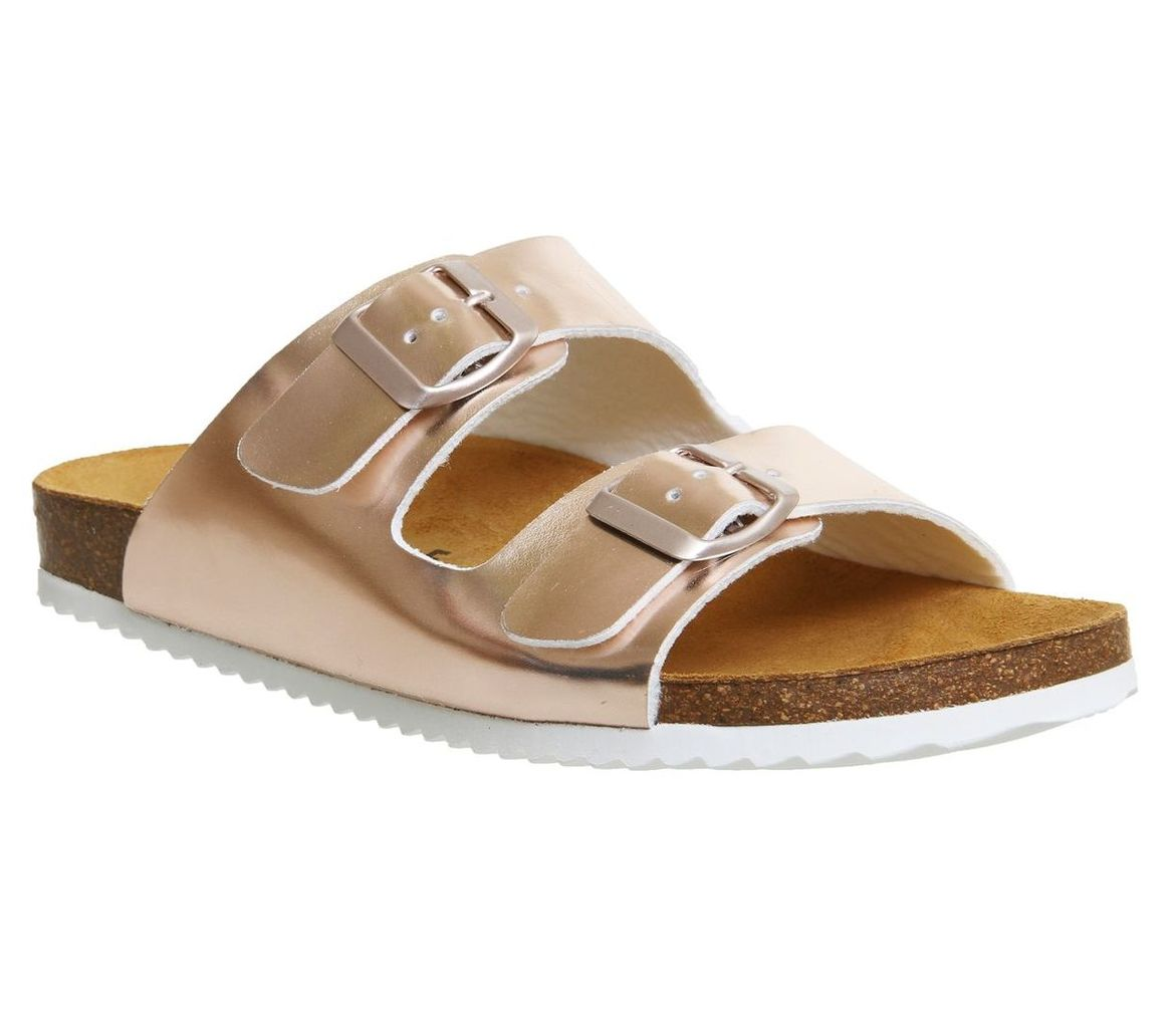 Office Hype 2 double strap sandals, Rose Gold