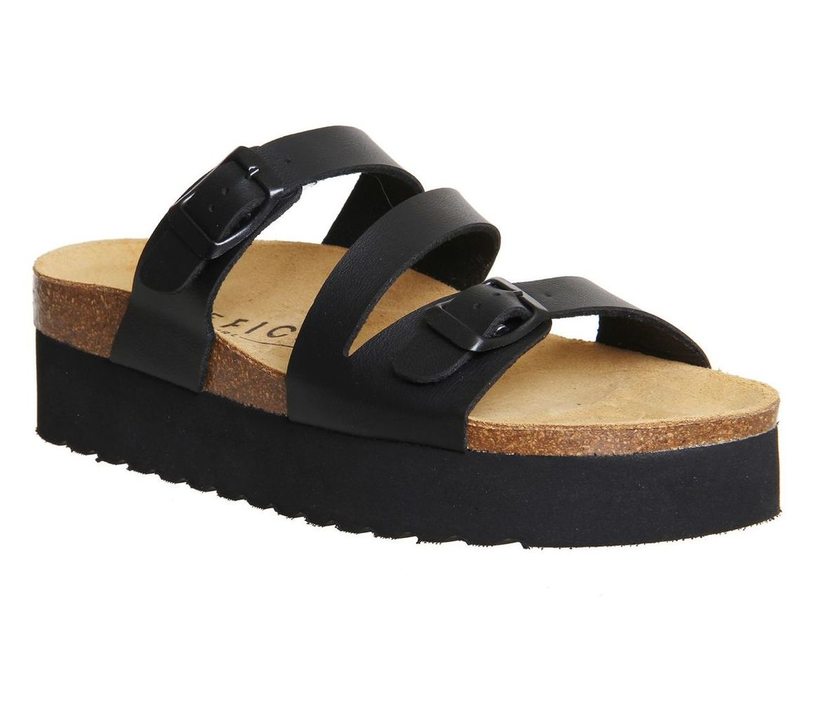 Office Mounty footbed sandals, Black