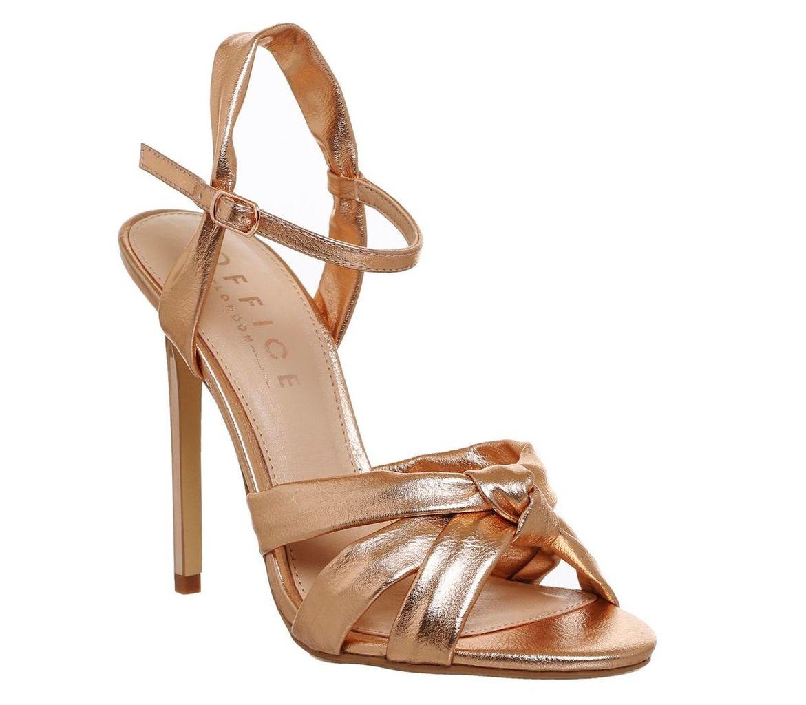Office Hollie knot strap sandals, Rose Gold