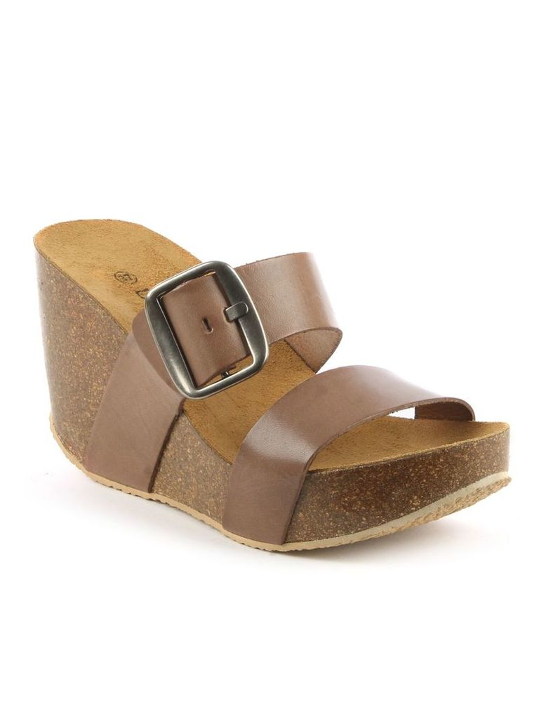 Daniel Paterinia glitter two bar wedge sandals, Brown