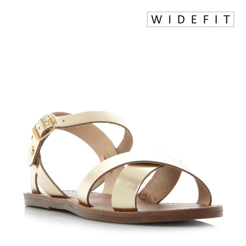 Dune Laila wide fit cross vamp sandals, Gold