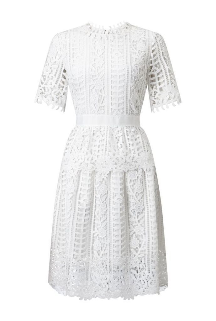 James Lakeland Short Sleeve Lace Dress, White
