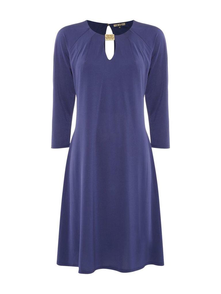 Biba Jersey gold trim luxe knee length dress, Blue