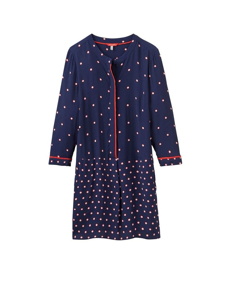 Joules Long sleeves v neck dot print tunic, French Navy