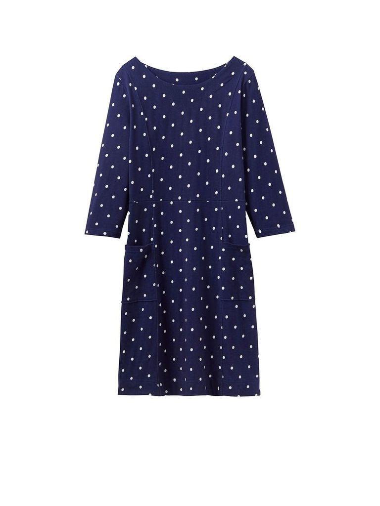 Joules 3/4 sleeves printed jersey shift dress, French Navy