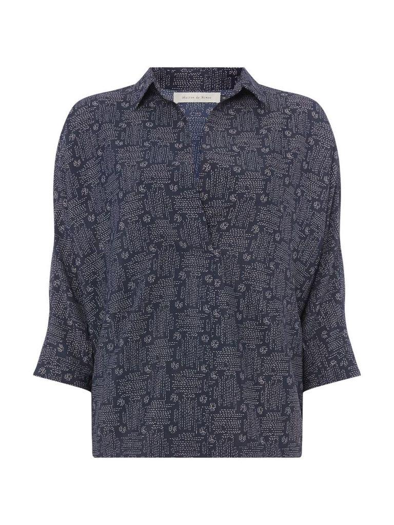 Maison De Nimes Cross hatch print pleat shirt, Stone