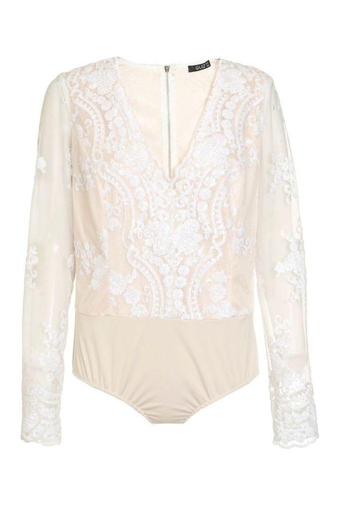 Quiz White And Nude Mesh Sequin Bodysuit, White
