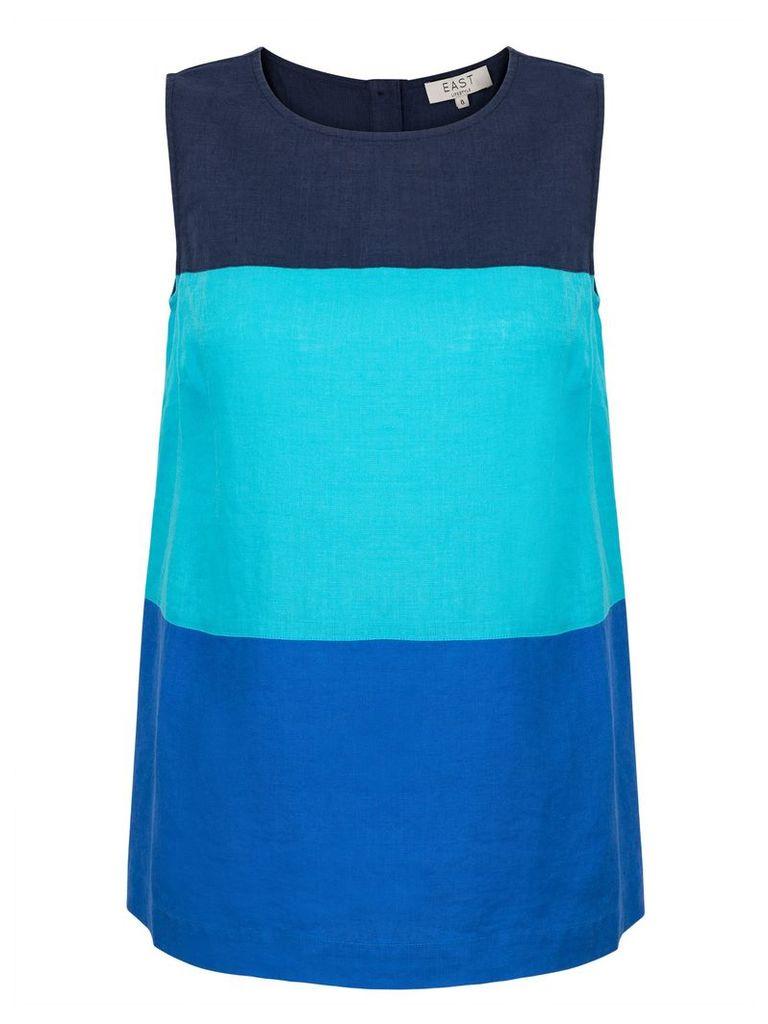 East Linen Colourblock Sleeveless Top, Blue