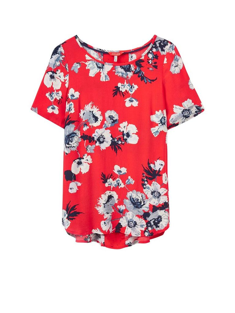 Joules Short sleeves crew neck printed woven top, Red