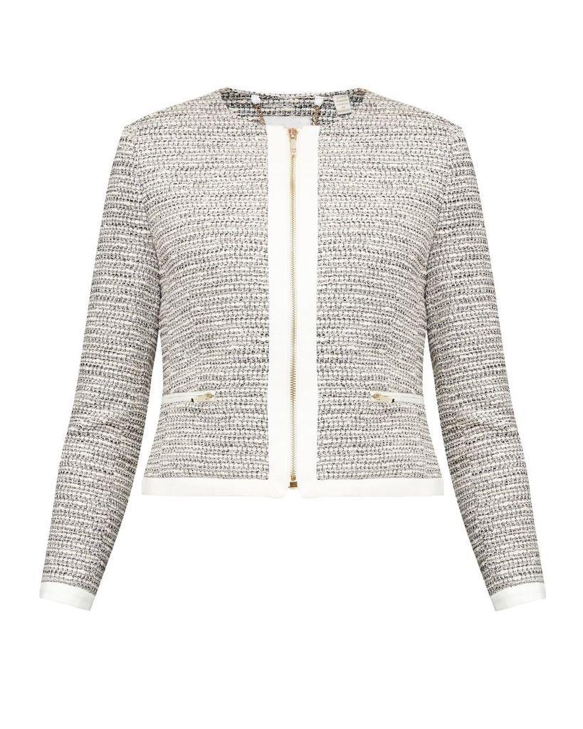 Ted Baker Preyaa Cropped sparkle boucle jacket, Ivory