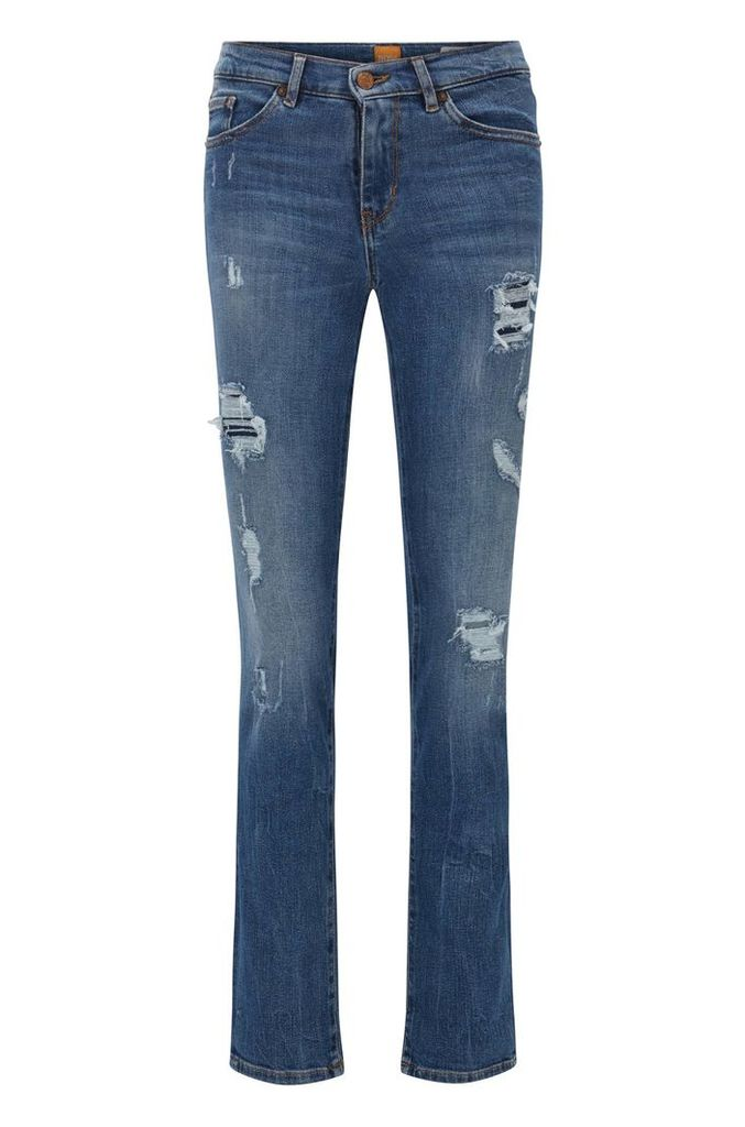 Slim-fit jeans in slub comfort-stretch denim