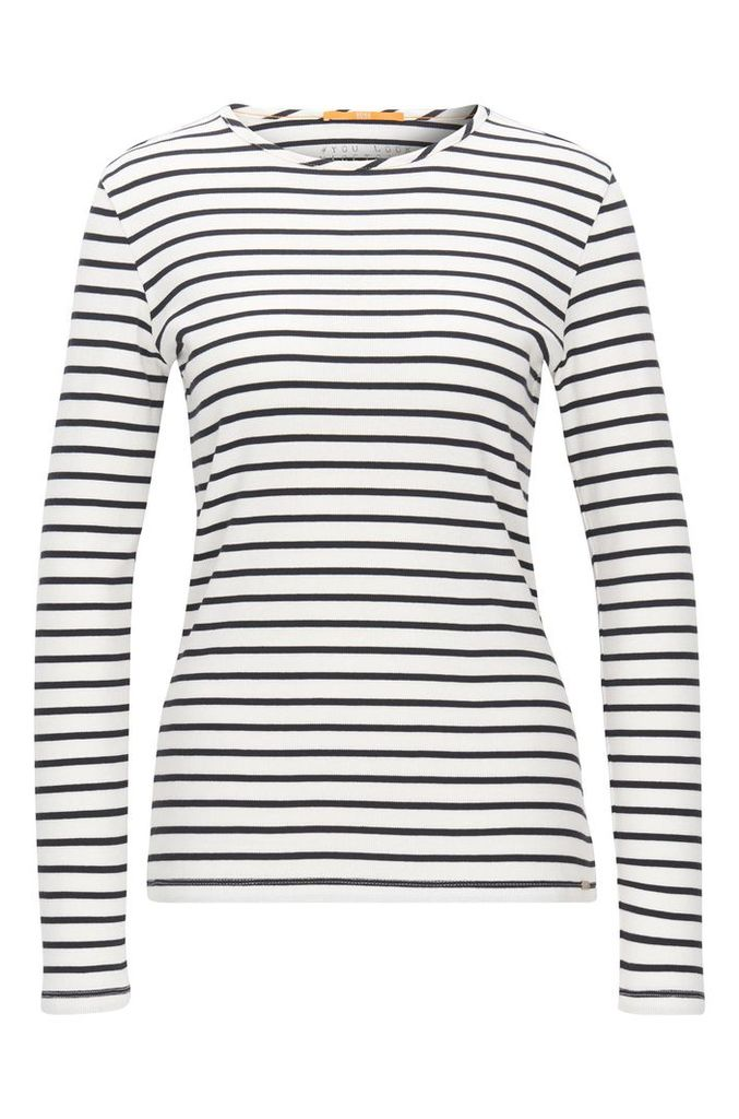 Slim-fit long-sleeved T-shirt in rib jersey