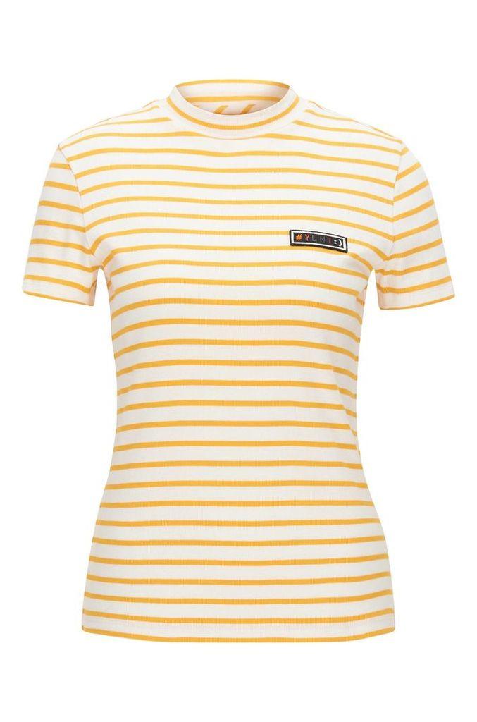 Slim-fit T-shirt in striped rib jersey