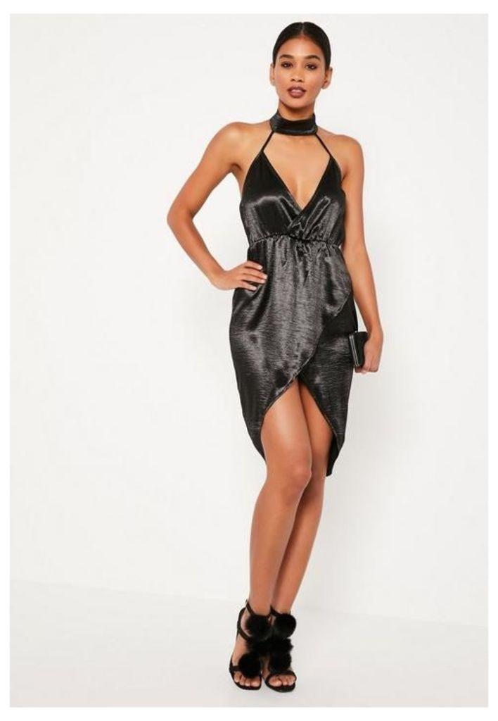 Black High Shine Satin Wrap Midi Dress, Black