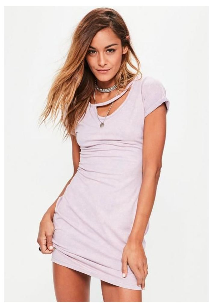 Pink Washed Cut Out Neck Detail Bodycon Dress, Red