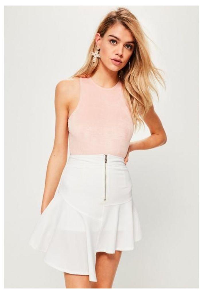White Zip Detail Asymmetric Step Hem Skirt, White