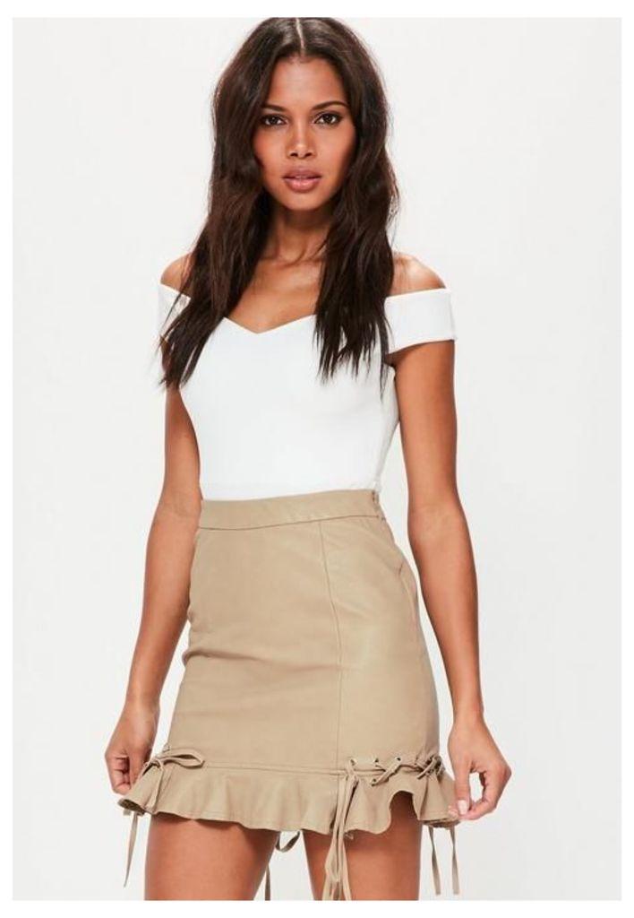 Tan Faux Leather Frill Eyelet Mini Skirt, Brown