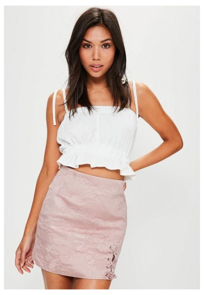 Pink Embroidered Jacquard Lace Up Side Mini Skirt, Pink