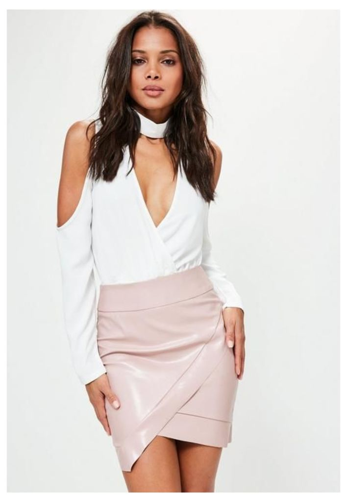 Pink Asymmetric Faux Leather Mini Skirt, Beige