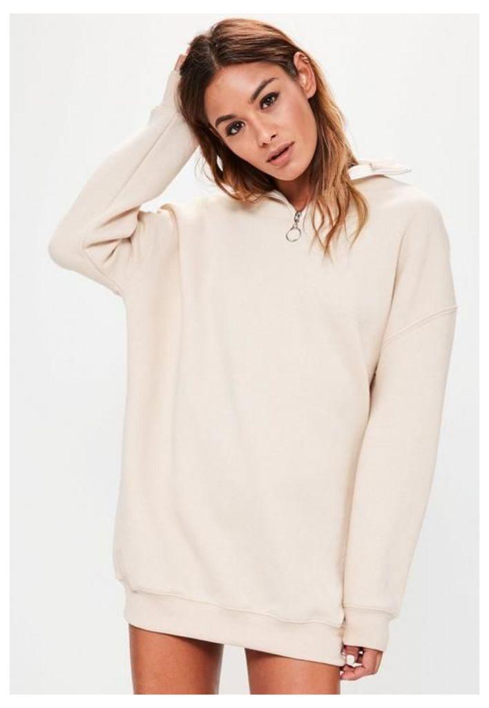 white zip neck sweater dress, Cream