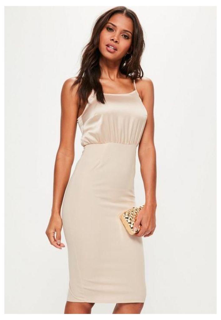 Nude Silky Contrast Midi Dress, Beige