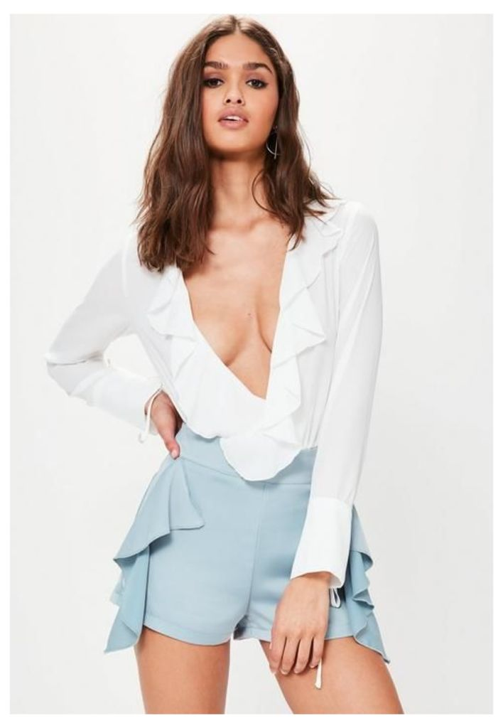 Blue Frill Side High Waisted Shorts, Blue