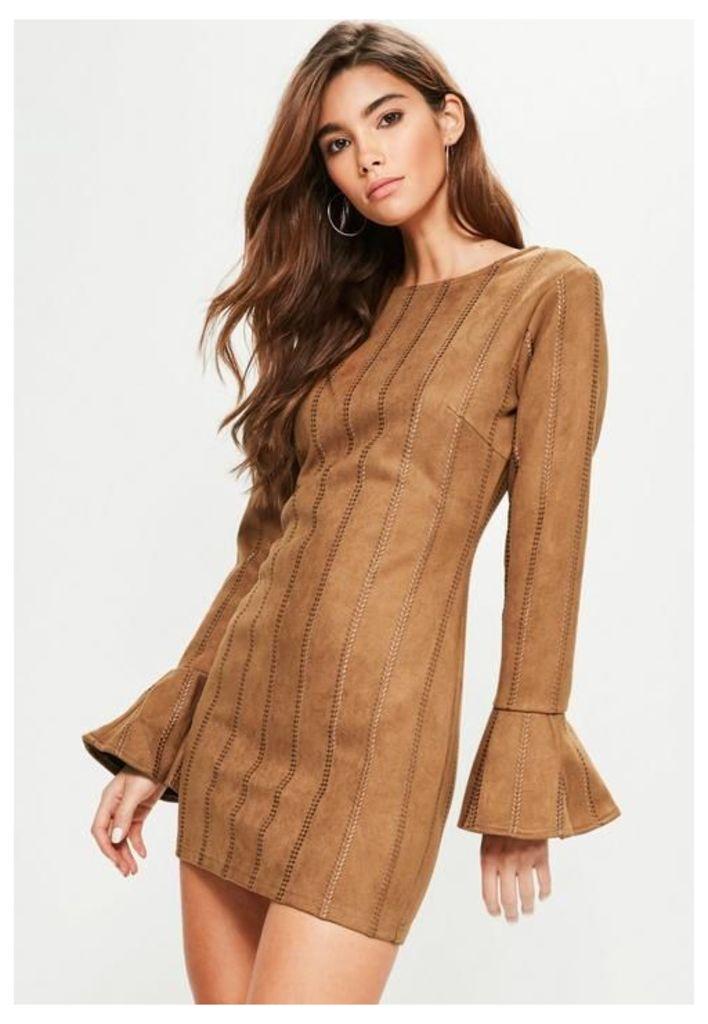 Tan Faux Suede Stitch Detail Bodycon Dress, Brown